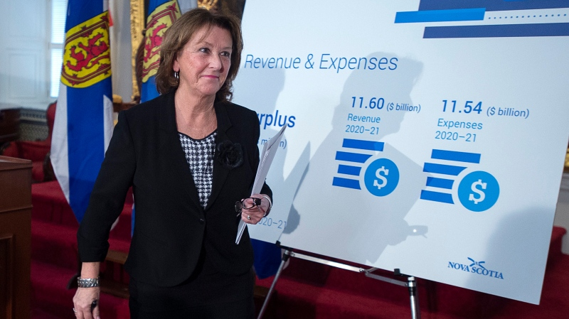 Finance Minister Karen Casey heads to table the Nova Scotia provincial budget for 2020-2021 after briefing reporters at the legislature in Halifax on Tuesday, February 25, 2020. (THE CANADIAN PRESS/Andrew Vaughan)