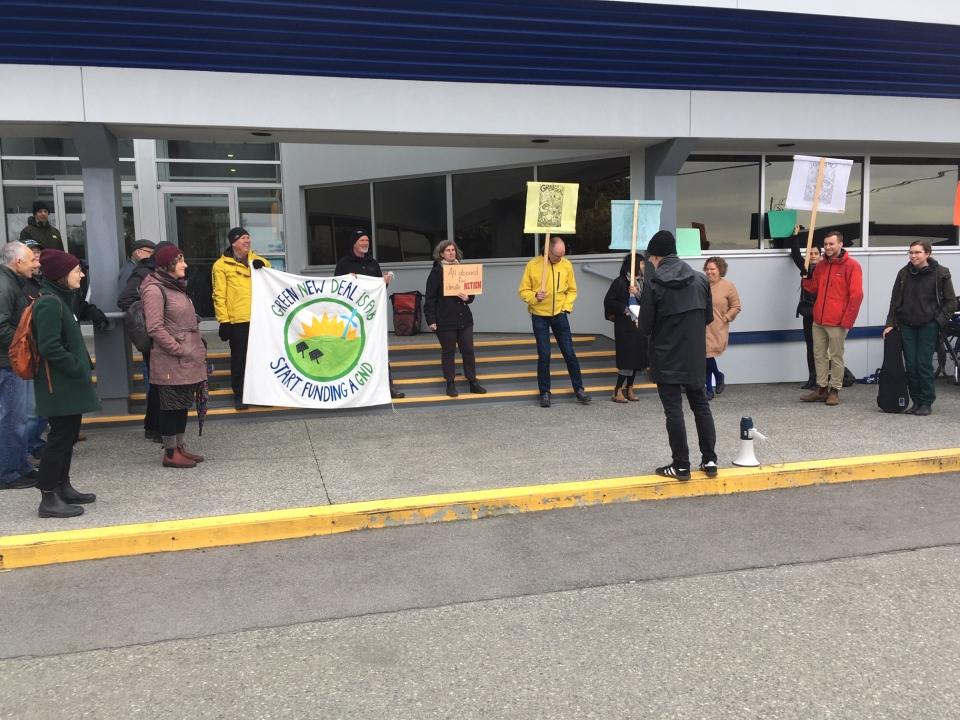 Climate protesters held a rally outside of the Victoria Regional Transit Commission as the topic of expanding free youth transit passes was discussed Tuesday: (CTV News)