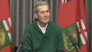 Manitoba Premier Pallister speaks to the media