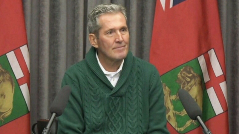 Manitoba Premier Pallister speaks to the media