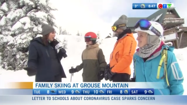 Family skiing at Grouse mountain