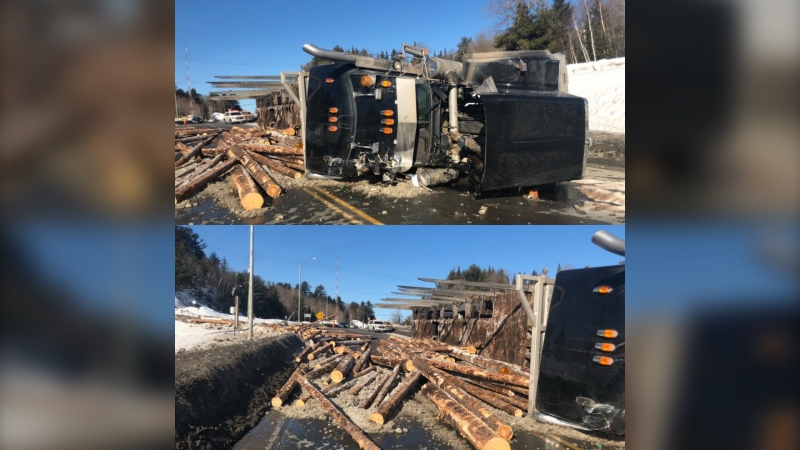 Truck carrying logs rolled over on Hwy 144 near Onaping Feb. 25/20 (Jesse Oshell)