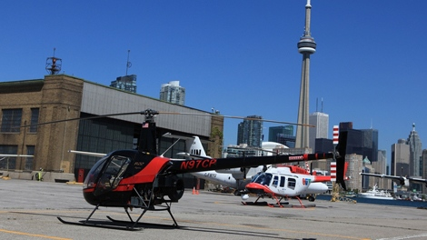 A photo of the Robinson R22 Alpha taken at the Toronto Island airport on Sept. 1, 2009 is shown. (Tom Podolec / CTV Toronto)