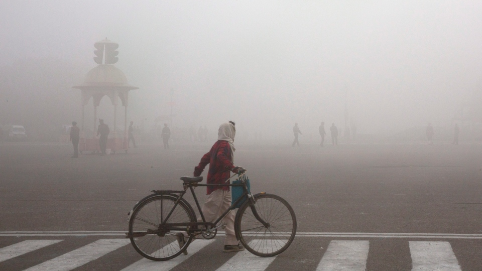This Jan. 18, 2019 file photo shows a cyclist amidst morning smog in New Delhi, India. (AP Photo/Manish Swarup, File)