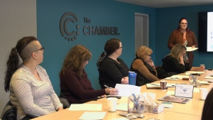 Keitha Robson, chief administrative officer for the Timmins Chamber of Commerce, talks to business owners and organization leaders about the importance of having a social media policy.  Feb. 25/20 (Lydia Chubak/CTV Northern Ontario)
