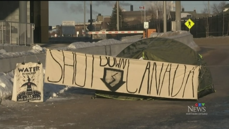 Sault Ste. Marie International Bridge blockade. Feb. 25/20 (Jairus Patterson/CTV Northern Ontario)