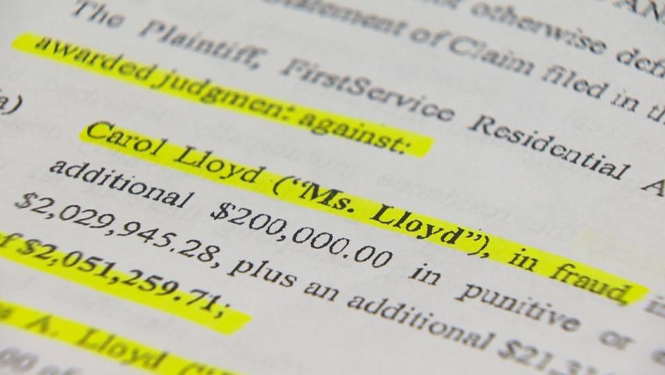 Carol Lloyd, FirstService Residential, fraud