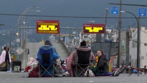 A group of demonstrators blocked an intersection outside the Port of Vancouver on Feb. 24 and 25.