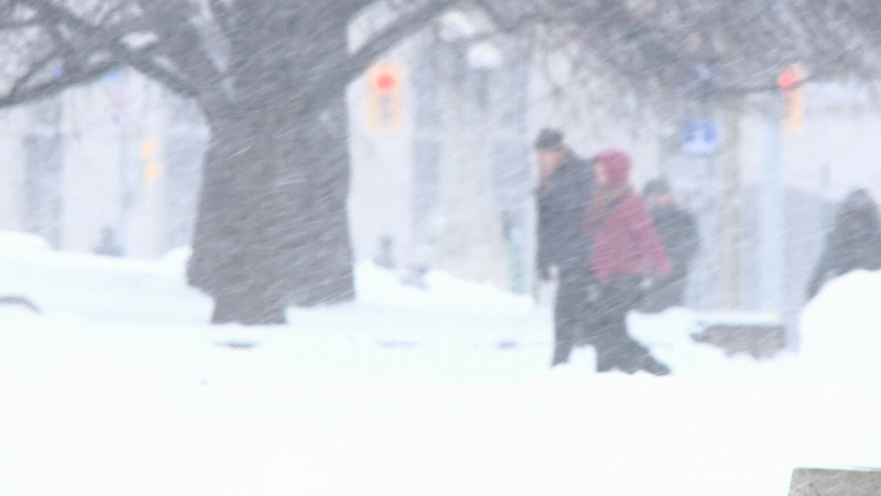 Pedestrians walking in a snow storm in downtown Ottawa. (File photo)