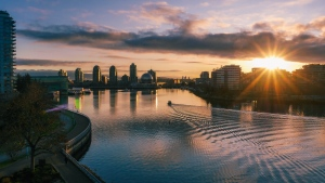 Promise of a new day as the sun rises over False Creek. (Stephanie Seto photo)