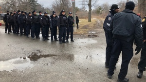 Police arrive at Kipling GO Station where a blockade formed on Feb. 25, 2020. (Tracy Tong/CTV News Toronto)