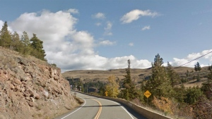 A stretch of Highway 5A near Stump Lake, B.C. is seen in this undated Google Maps image.