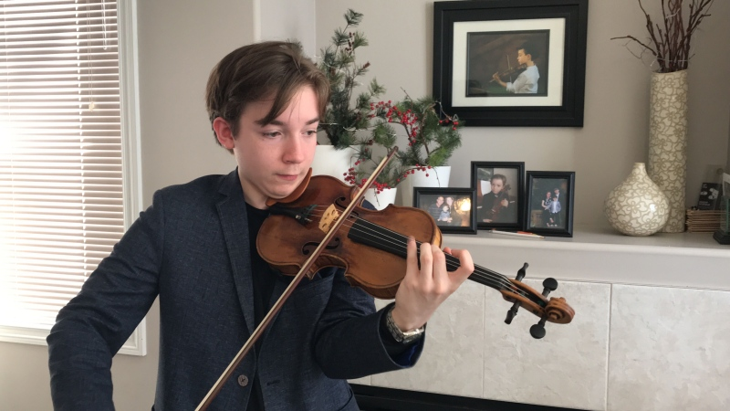 Jacques Forestier playing the violin. Tuesday Feb. 25, 2020 (CTV News Edmonton)