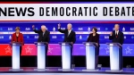 From left, Sen. Elizabeth Warren, D-Mass., Sen. Bernie Sanders, I-Vt., former Vice President Joe Biden, Sen. Amy Klobuchar, D-Minn., and businessman Tom Steyer, participate in a Democratic presidential primary debate at the Gaillard Center, Tuesday, Feb. 25, 2020, in Charleston, S.C., co-hosted by CBS News and the Congressional Black Caucus Institute. (AP Photo/Patrick Semansky)