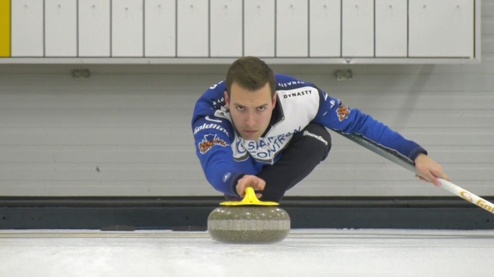 Brendan Bottcher, curling practice at the Saville Centre. Tuesday Feb. 25, 2020 (CTV News Edmonton)