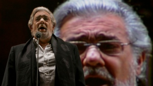 FILE - In this Dec. 19, 2009, file photo, Placido Domingo performs during a sound check prior to a free concert in Mexico City. (AP Photo/Marco Ugarte)