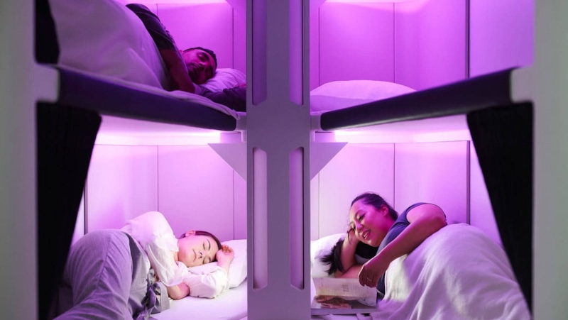 "Air New Zealand's ""Economy Skynest"" will feature six full length lie-flat sleep pods. (Courtesy Air New Zealand)"