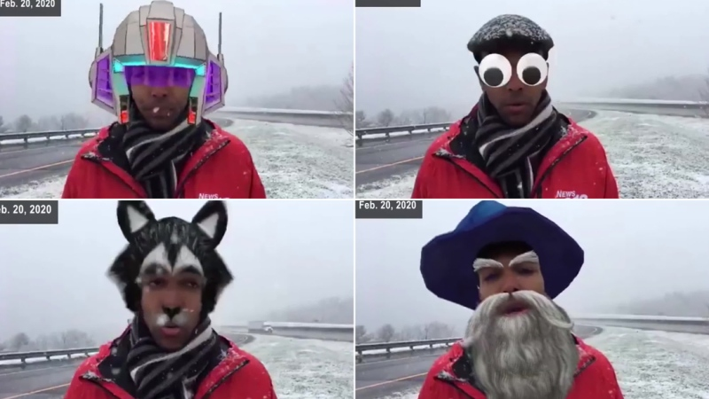 A North Carolina television news reporter who was discussing the first snowfall of the season was unknowingly interrupted by some hilarious camera filters during a recent Facebook live segment. (CNN/WLOS)