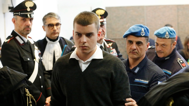Gabriel Natale Hjorth attends the opening of the trial for the killing of Italian policeman Mario Cerciello Rega in Rome, Wednesday, Feb. 26, 2020. (AP Photo/Domenico Stinellis)