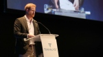 Prince Harry speaks during a sustainable tourism summit at the Edinburgh International Conference Centre in Edinburgh, Scotland, Wednesday, Feb. 26, 2020. (Andrew Milligan/Pool Photo via AP)