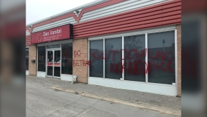 Graffiti outside Dan Vandal's office. (Source: Mike Arsenault/CTV News Winnipeg)
