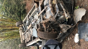 Cumberland Fire Chief Mike Williamson says the woman was driving her van and either had a medical issues or lost control of the vehicle she was driving in and landed upside down near some railway tracks and became trapped inside. (Cumberland Fire Rescue)