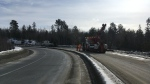 Transport rolled into ditch on Hwy 144 off ramp to Hwy 17 East Feb. 26/20 (Lyndsay Aelick/CTV Northern Ontario)