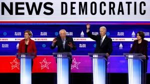 From left, Democratic presidential candidates, Sen. Elizabeth Warren, D-Mass., Sen. Bernie Sanders, I-Vt., former Vice President Joe Biden and Sen. Amy Klobuchar, D-Minn., participate in a Democratic presidential primary debate at the Gaillard Center, Tuesday, Feb. 25, 2020, in Charleston, S.C., co-hosted by CBS News and the Congressional Black Caucus Institute. (AP Photo/Patrick Semansky)