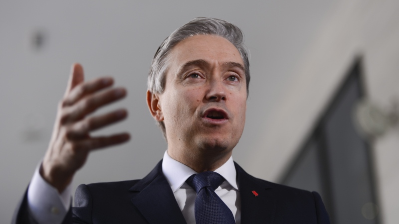 Minister of Foreign Affairs Francois-Philippe Champagne speaks to reporters in Addis Ababa, Ethiopia on Sunday, Feb. 9, 2020. (THE CANADIAN PRESS/Sean Kilpatrick)