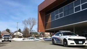 Sudbury police investigate threat at Sudbury Secondary School on Feb. 26/20 (Molly Frommer/CTV Northern Ontario)