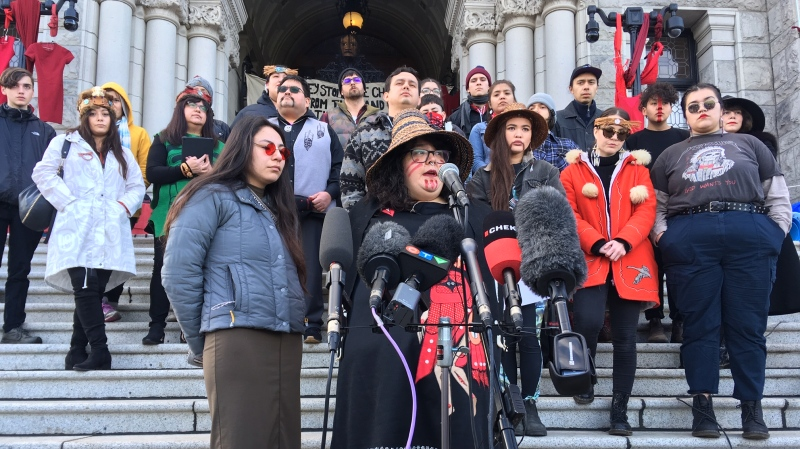 Indigenous youth speak on the steps of the B.C. legislature in Victoria. (CTV News)
