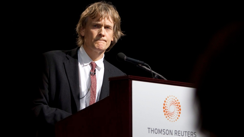 Thomson Reuters Chairman David Thomson speaks during the company's Annual Meeting of Shareholders in Toronto, May 3, 2011. THE CANADIAN PRESS/Darren Calabrese