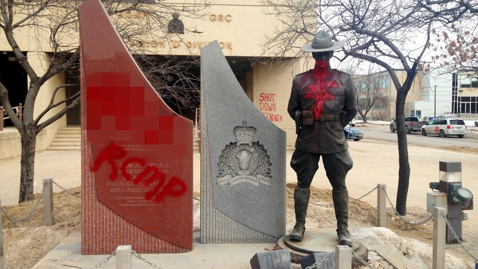 Graffiti outside the RCMP headquarters. (Source: Scott Andersson/CTV News Winnipeg)