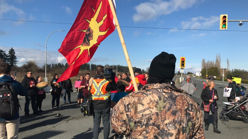 Just before 2 p.m., activists walked onto the highway, cutting the main traffic link between Victoria and the upper Saanich Peninsula, including the BC Ferris terminal and the airport. (CTV News)