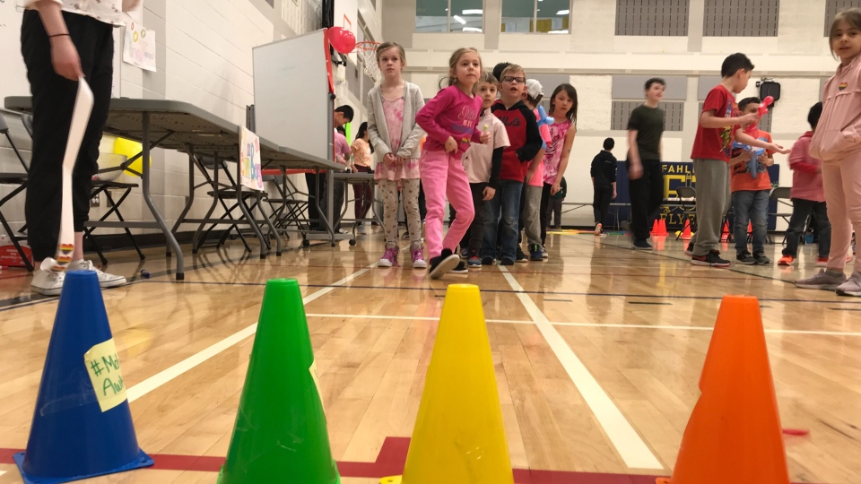 Approximately 900 students participate in games, face painting and an obstacle course during Pink Shirt Day at Dr. Lila Fahlman School.