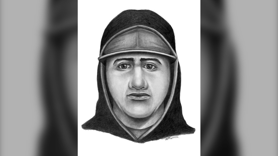 Police sketch of man suspected in two robberies. (EPS)