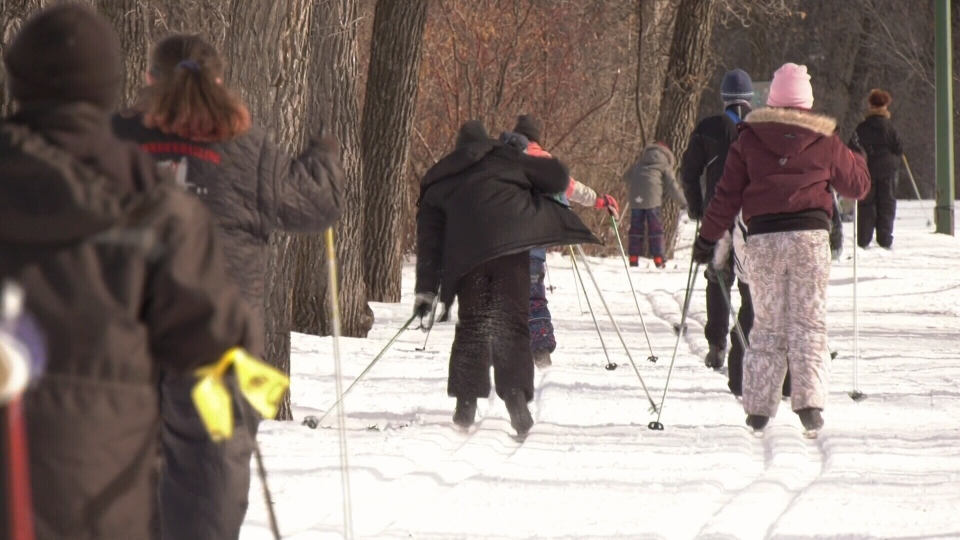 Indigenous kids learning how to cross country ski in Winnipeg.