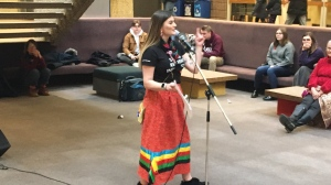 U of R students speak out against a scheduled lecture (Creeson Agecoutay / CTV News Regina)