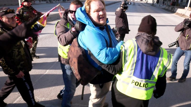 Man removed after intervening in downtown protest