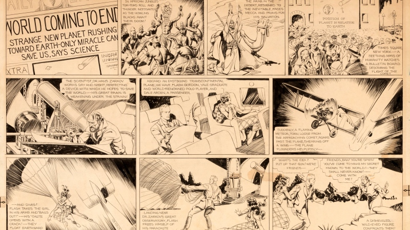 "This image released by Profiles in History shows original artwork for the ""Flash Gordon"" comic strip that was first published in January 1934. (Profiles in History via AP)"