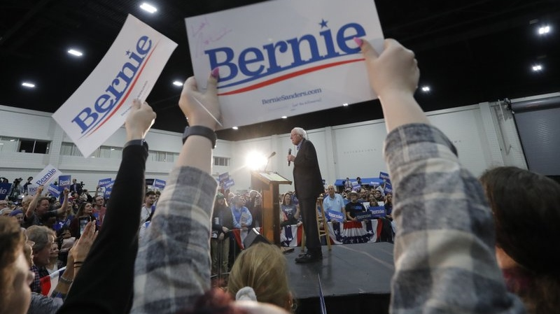 Democratic presidential candidate, Sen. Bernie Sanders, I-Vt., pauses as he speaks at a campaign event in Myrtle Beach, S.C., Wednesday, Feb. 26, 2020. (AP Photo/Gerald Herbert)