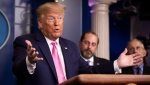 U.S President Donald Trump and members of the president's coronavirus task force speaks during a news conference at the Brady press briefing room of the White House, Wednesday, Feb. 26, 2020, in Washington. (AP Photo/Manuel Balce Ceneta)