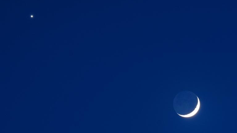venus and cresent moon