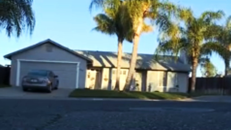 John Paul Halleux was living in this house under the name Thomas Coy, according to court documents. (KOVR-TV / CNN)
