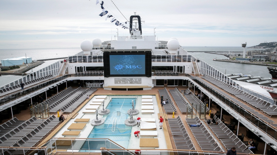 This June 3, 2017 file photo shows the upper deck pool area of the MSC Meraviglia cruise ship docked in Le Havre harbour, Normandy, France. (AP Photo/Thomas Padilla, File)