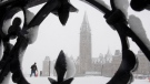 A man walks on Parliament Hill during a snow storm in Ottawa, Thursday, Feb. 27, 2020. Over 25cm of snow was expected to fall on the region as a winter storm passed through. THE CANADIAN PRESS/Adrian Wyld