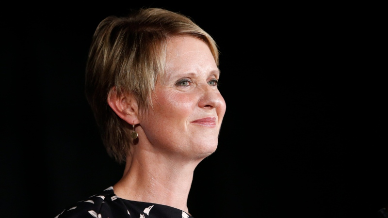 Gubernatorial candidate Cynthia Nixon delivers her concession speech at the Working Families Party primary night party,Thursday, Sept. 13, 2018, in New York. (AP Photo/Jason DeCrow)