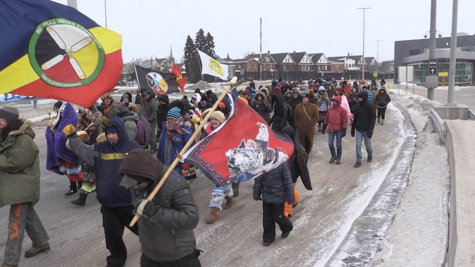 Group on Sault Ste. Marie's International Bridge