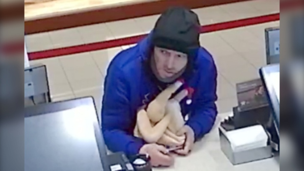 RCMP released this image of a suspect in a theft involving the use of a rubber chicken. (RCMP handout)