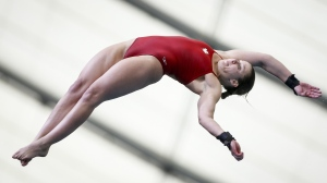 Canada's Celina Toth competes during the women's open platform finals event at the FINA Diving Grand Prix in Calgary, Alta., Sunday, April 7, 2019.THE CANADIAN PRESS/Jeff McIntosh